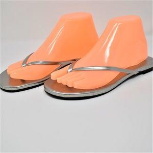 Aldo Womens Silver Thong Sandals Shiny Sliver